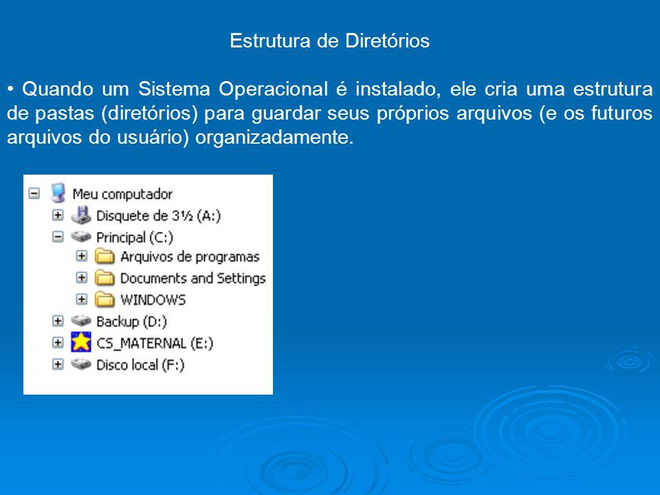 Estrutura de Diretórios Quando um Sistema Operacional é instalado, ele cria uma estrutura de pastas (diretórios) para guardar seus próprios arquivos (