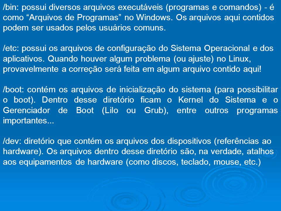 /bin: possui diversos arquivos executáveis (programas e comandos) - é como Arquivos de Programas no Windows. Os arquivos aqui contidos podem ser usado