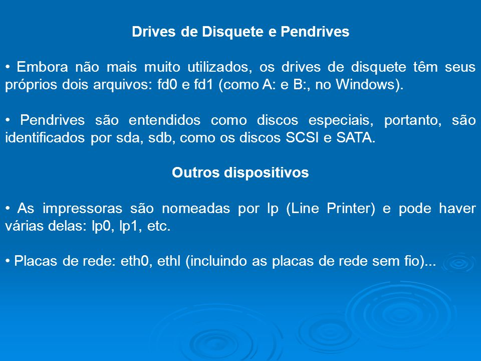 Drives de Disquete e Pendrives Embora não mais muito utilizados, os drives de disquete têm seus próprios dois arquivos: fd0 e fd1 (como A: e B:, no Wi