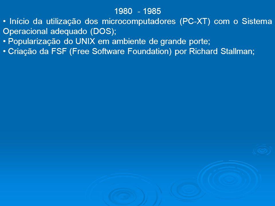 1980 - 1985 Início da utilização dos microcomputadores (PC-XT) com o Sistema Operacional adequado (DOS); Popularização do UNIX em ambiente de grande p
