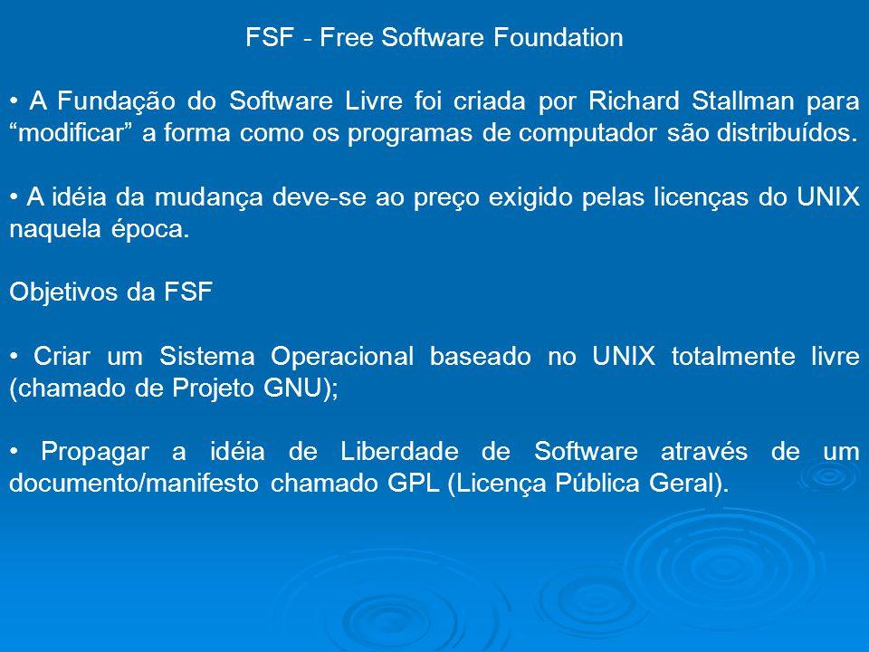 FSF - Free Software Foundation A Fundação do Software Livre foi criada por Richard Stallman para modificar a forma como os programas de computador são