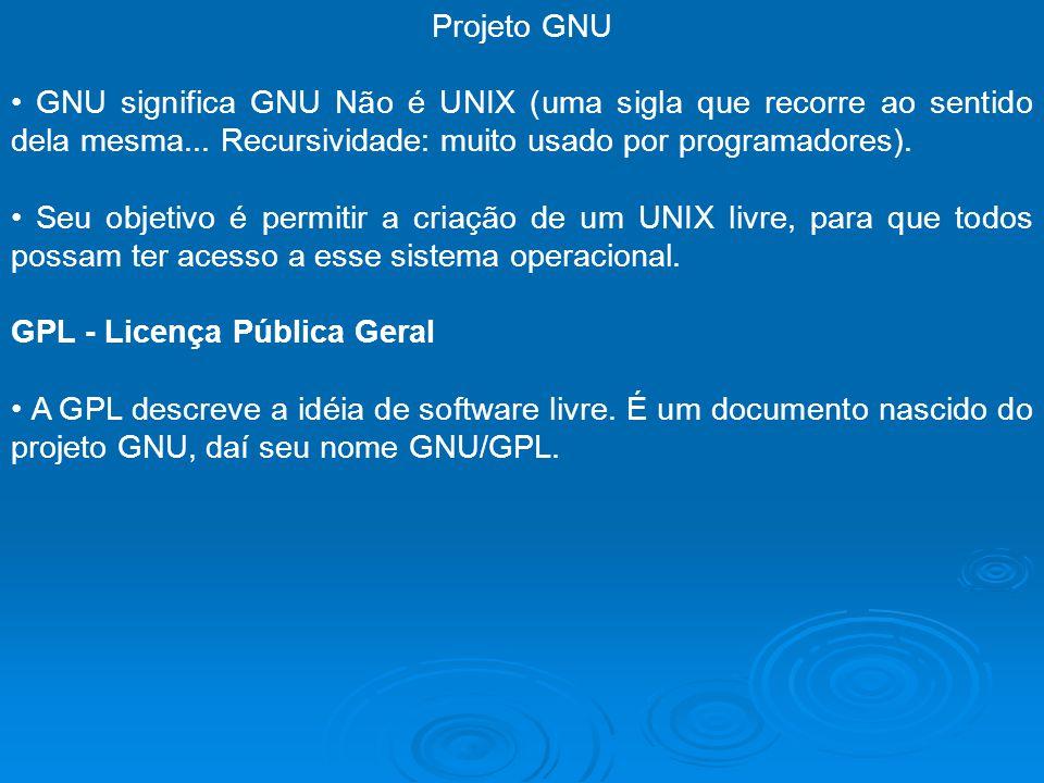 Projeto GNU GNU significa GNU Não é UNIX (uma sigla que recorre ao sentido dela mesma... Recursividade: muito usado por programadores). Seu objetivo é