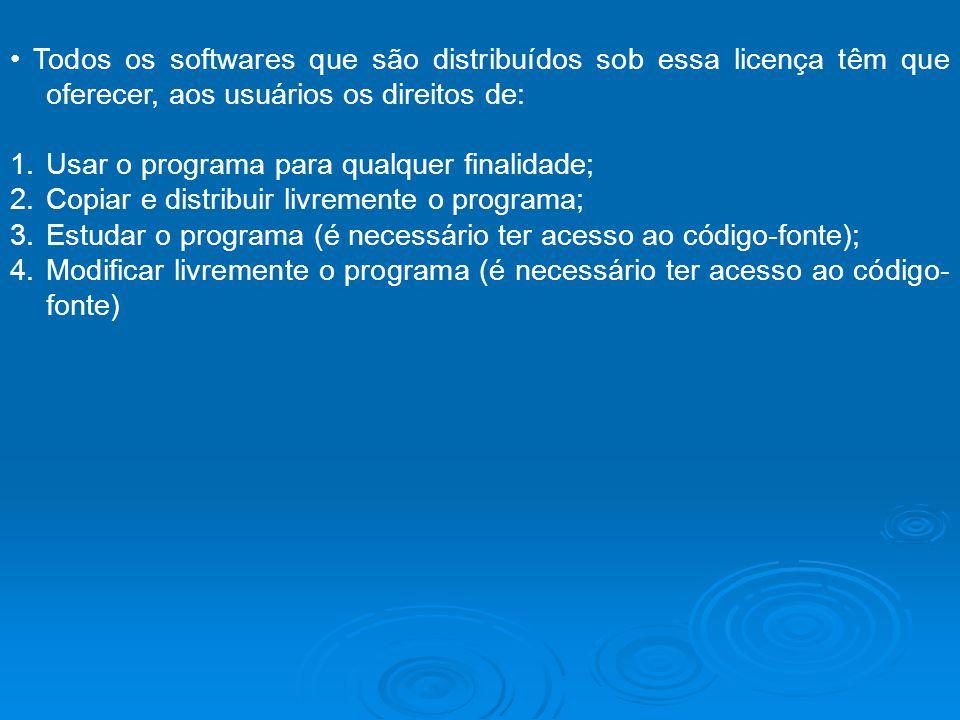 Todos os softwares que são distribuídos sob essa licença têm que oferecer, aos usuários os direitos de: 1.Usar o programa para qualquer finalidade; 2.