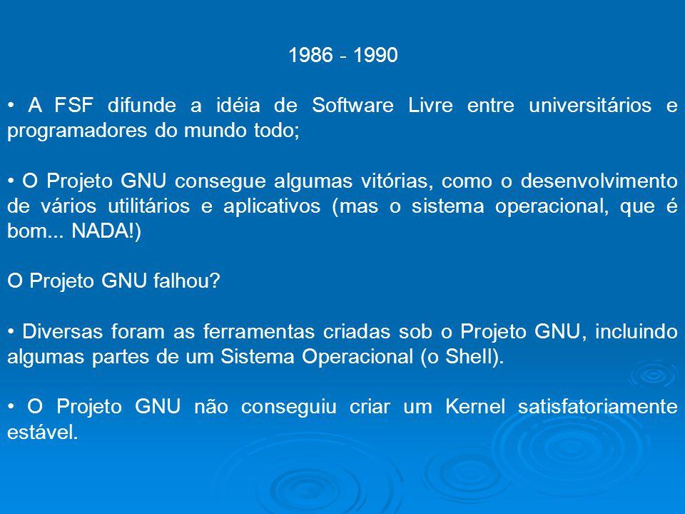 1986 - 1990 A FSF difunde a idéia de Software Livre entre universitários e programadores do mundo todo; O Projeto GNU consegue algumas vitórias, como