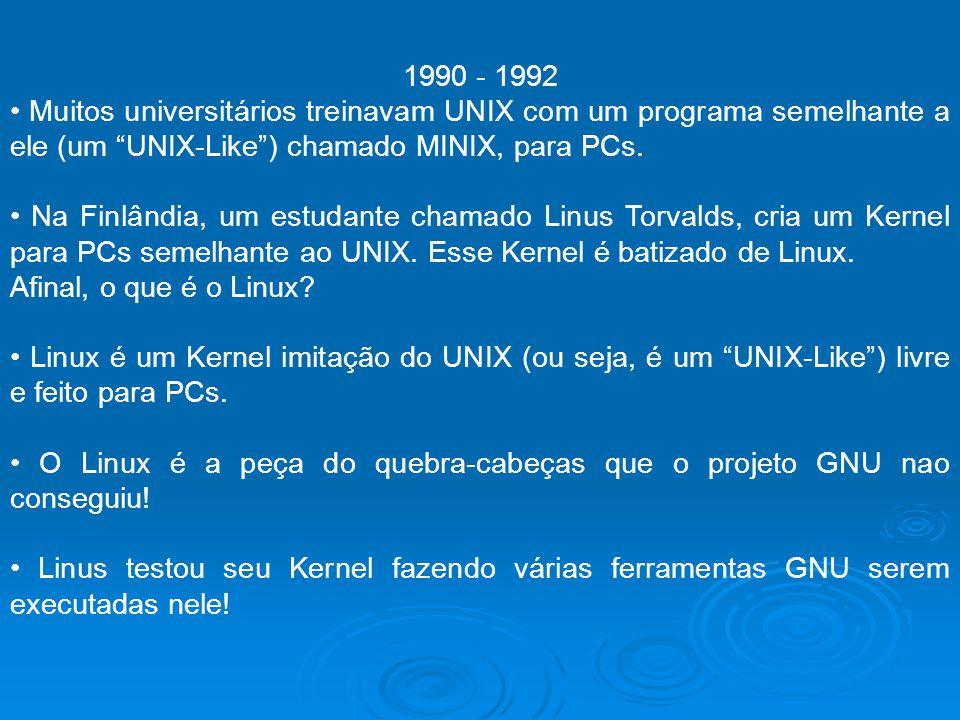 1990 - 1992 Muitos universitários treinavam UNIX com um programa semelhante a ele (um UNIX-Like) chamado MINIX, para PCs. Na Finlândia, um estudante c