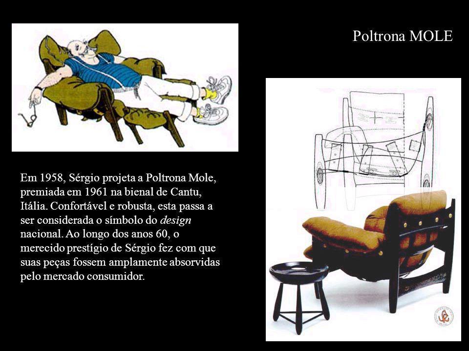 Poltrona MOLE Em 1958, Sérgio projeta a Poltrona Mole, premiada em 1961 na bienal de Cantu, Itália. Confortável e robusta, esta passa a ser considerad