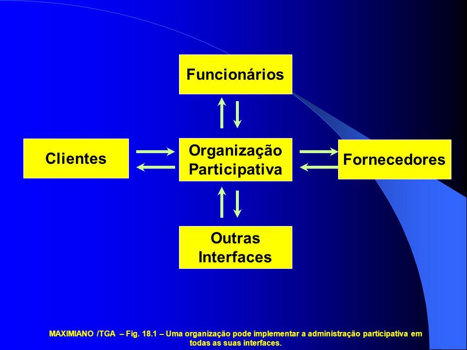 Funcionários Outras Interfaces Clientes Organização Participativa Fornecedores MAXIMIANO /TGA – Fig.