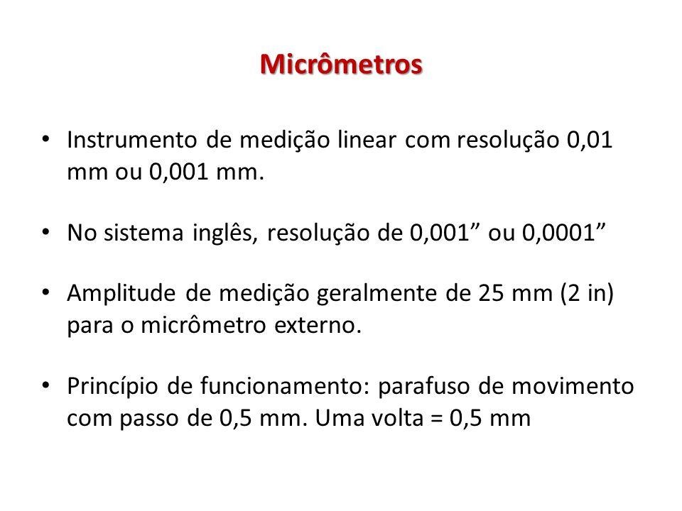 Micrômetros Instrumento de medição linear com resolução 0,01 mm ou 0,001 mm. No sistema inglês, resolução de 0,001 ou 0,0001 Amplitude de medição gera
