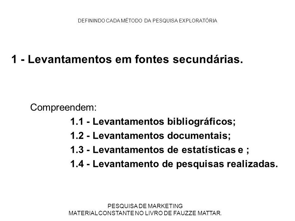 DEFININDO CADA MÉTODO DA PESQUISA EXPLORATÓRIA 1 - Levantamentos em fontes secundárias. Compreendem: 1.1 - Levantamentos bibliográficos; 1.2 - Levanta