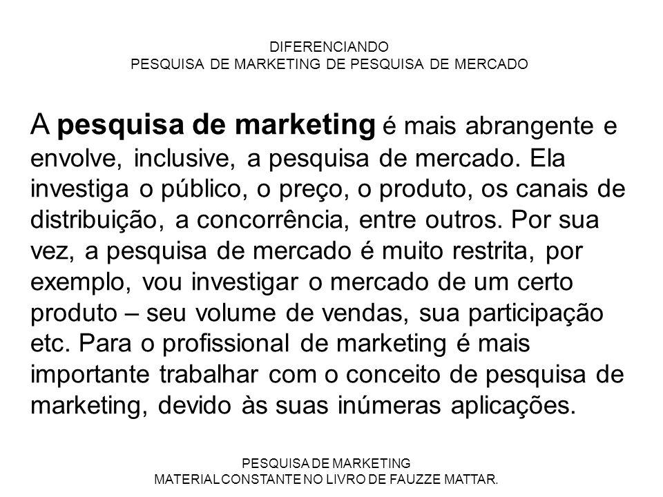 PESQUISA DE MARKETING MATERIAL CONSTANTE NO LIVRO DE FAUZZE MATTAR. DIFERENCIANDO PESQUISA DE MARKETING DE PESQUISA DE MERCADO A pesquisa de marketing