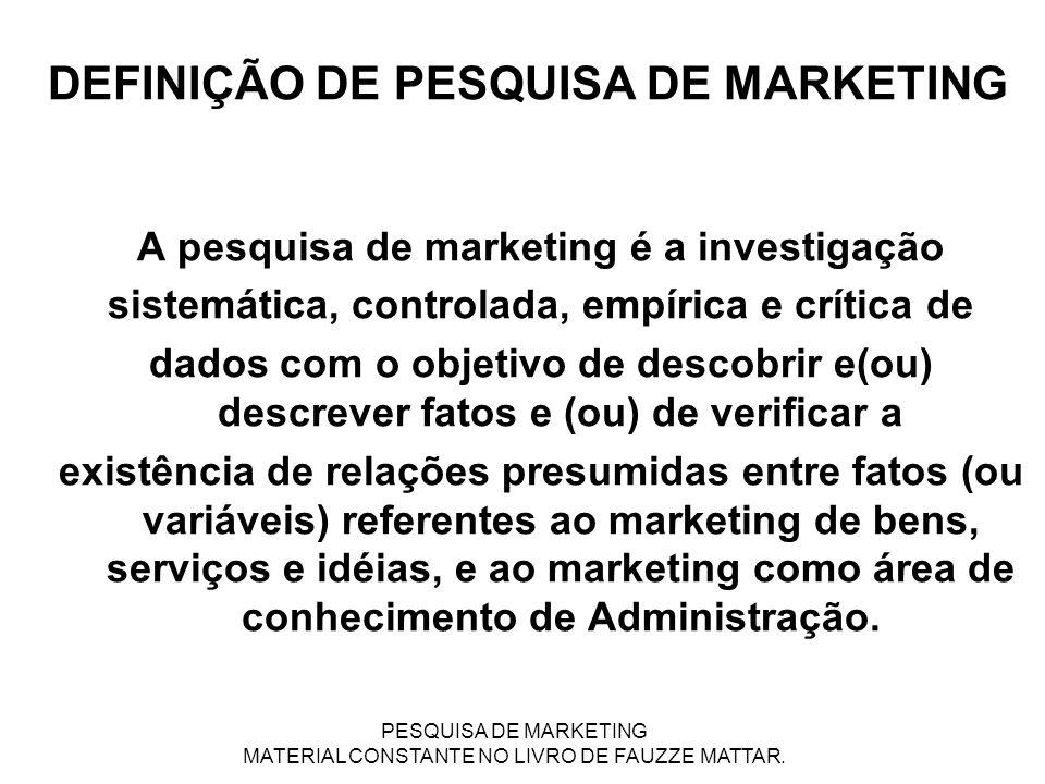 DEFINIÇÃO DE PESQUISA DE MARKETING A pesquisa de marketing é a investigação sistemática, controlada, empírica e crítica de dados com o objetivo de des