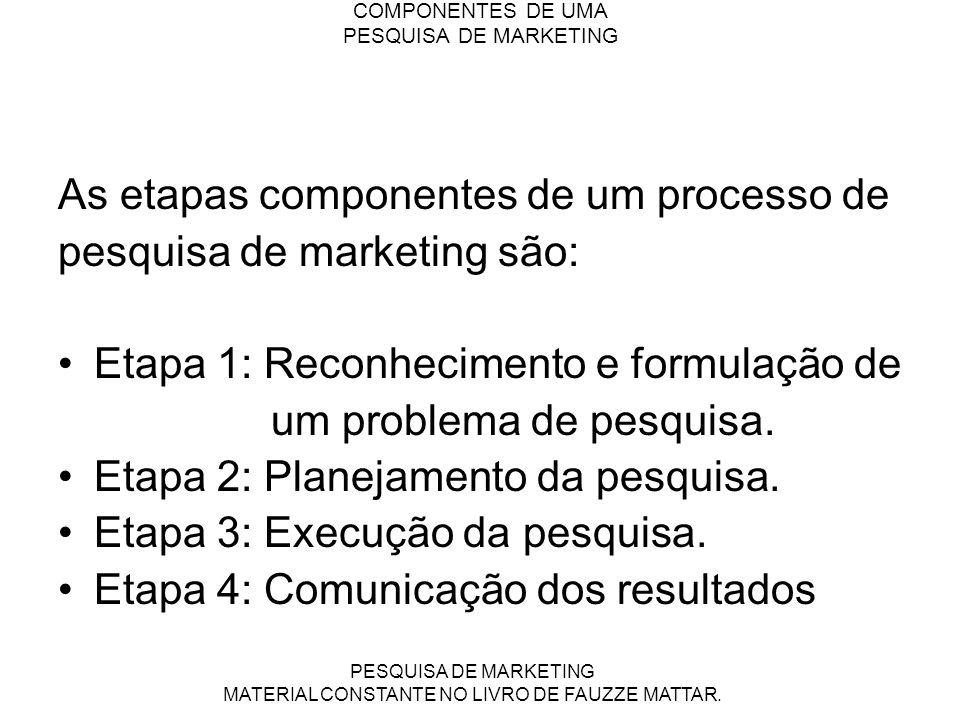 COMPONENTES DE UMA PESQUISA DE MARKETING As etapas componentes de um processo de pesquisa de marketing são: Etapa 1: Reconhecimento e formulação de um