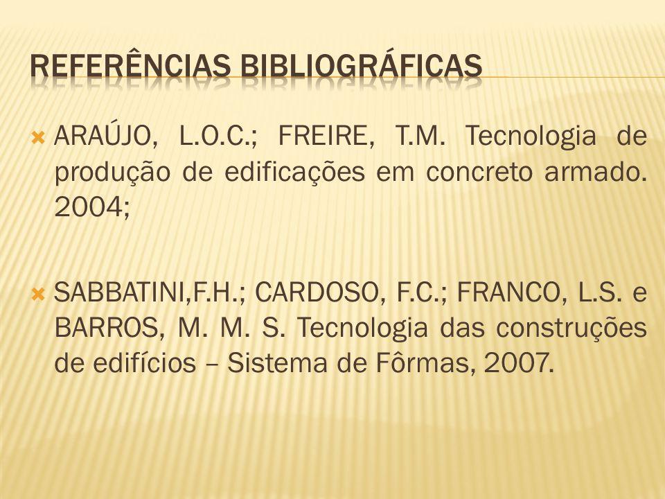 ARAÚJO, L.O.C.; FREIRE, T.M. Tecnologia de produção de edificações em concreto armado. 2004; SABBATINI,F.H.; CARDOSO, F.C.; FRANCO, L.S. e BARROS, M.