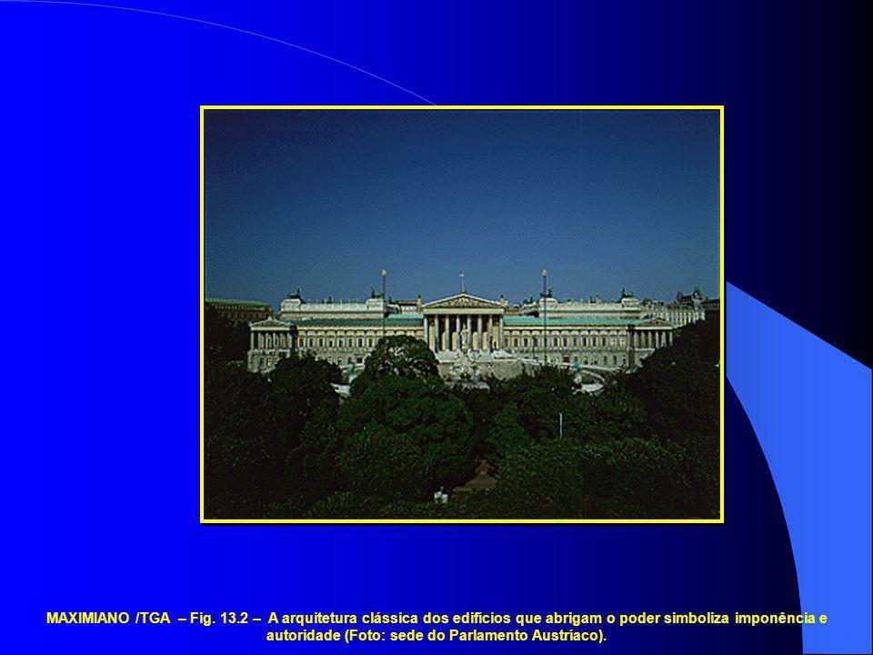 MAXIMIANO /TGA – Fig. 13.2 – A arquitetura clássica dos edifícios que abrigam o poder simboliza imponência e autoridade (Foto: sede do Parlamento Aust