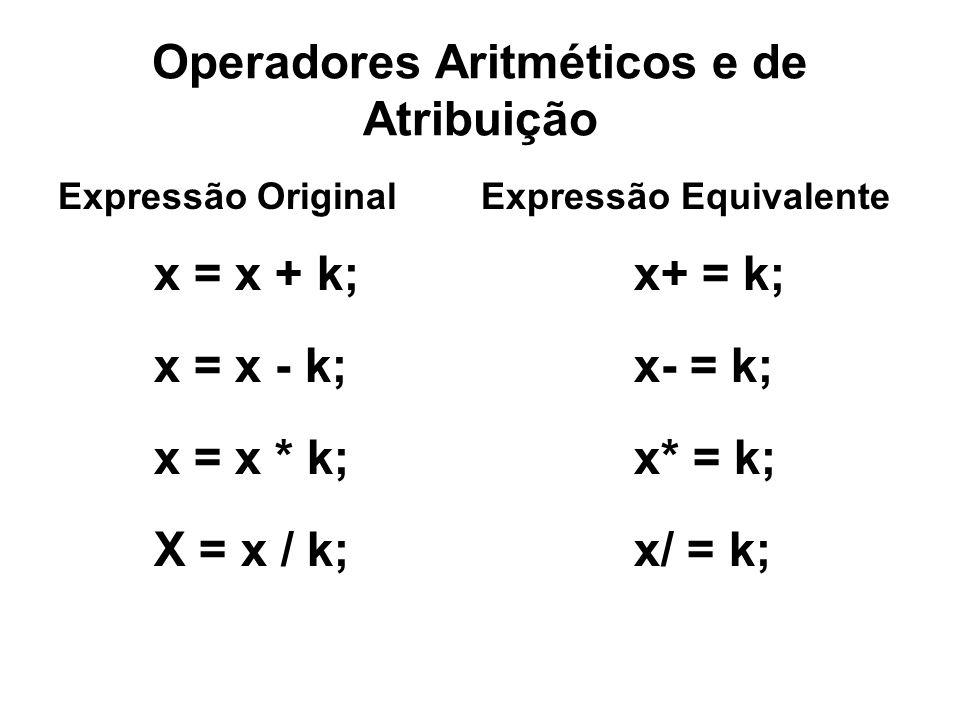 Operadores Aritméticos e de Atribuição Expressão Original Expressão Equivalente x = x + k; x+ = k; x = x - k; x- = k; x = x * k;x* = k; X = x / k; x/ = k;