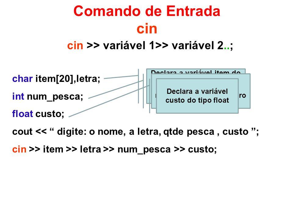 Comando de Entrada cin cin >> variável 1>> variável 2..; char item[20],letra; int num_pesca; float custo; cout << digite: o nome, a letra, qtde pesca, custo ; cin >> item >> letra >> num_pesca >> custo; Declara a variável item do tipo char com 20 caracteres e a variável letra tambem do tipo char Declara a variável num_pesca do tipo inteiro Declara a variável custo do tipo float