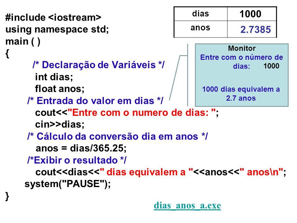 #include using namespace std; main ( ) { /* Declaração de Variáveis */ int dias; float anos; /* Entrada do valor em dias */ cout<< Entre com o numero de dias: ; cin>>dias; /* Cálculo da conversão dia em anos */ anos = dias/365.25; /*Exibir o resultado */ cout<<dias<< dias equivalem a <<anos<< anos\n ; system( PAUSE ); } dias_anos_a.exe dias_anos_a.exe dias anos 2.7385 1000 Monitor Entre com o número de dias: 1000 1000 dias equivalem a 2.7 anos