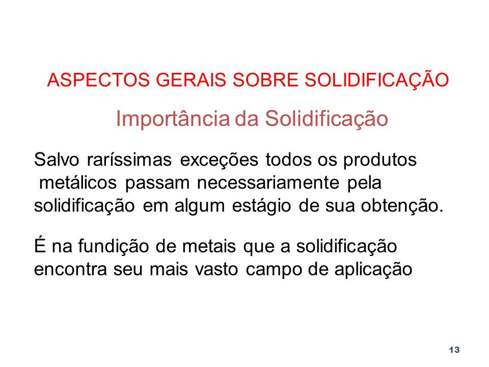 13 ASPECTOS GERAIS SOBRE SOLIDIFICAÇÃO Importância da Solidificação Salvo raríssimas exceções todos os produtos metálicos passam necessariamente pela