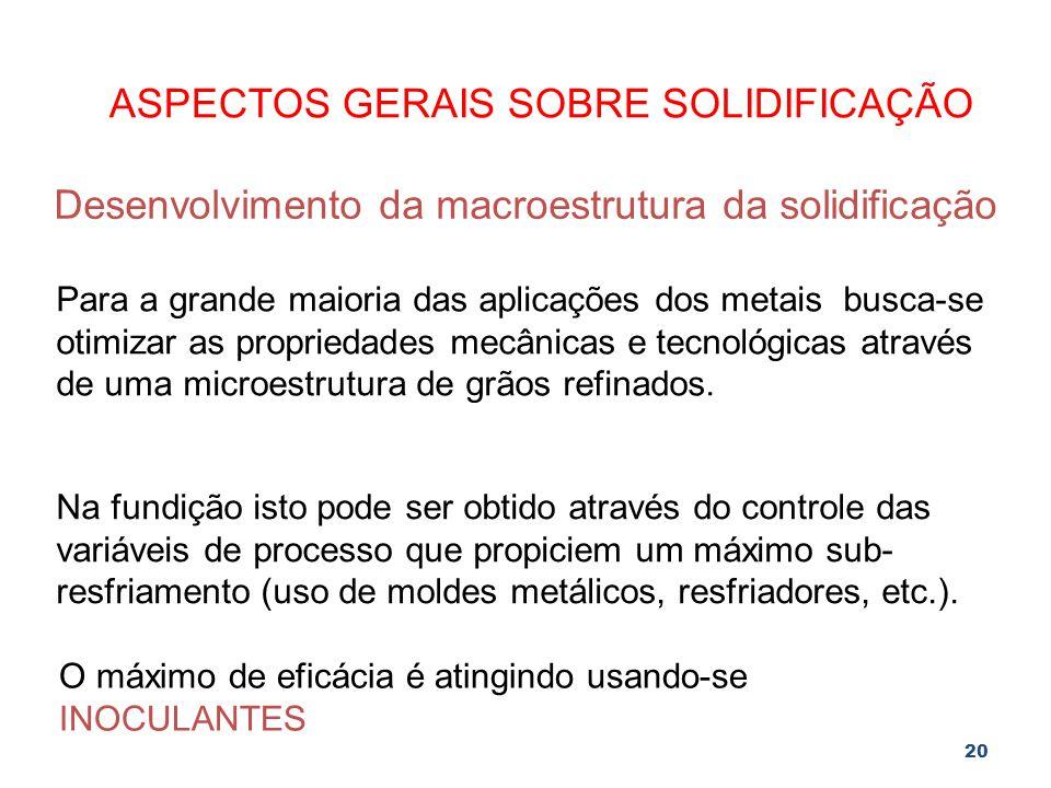 20 ASPECTOS GERAIS SOBRE SOLIDIFICAÇÃO Desenvolvimento da macroestrutura da solidificação Para a grande maioria das aplicações dos metais busca-se oti