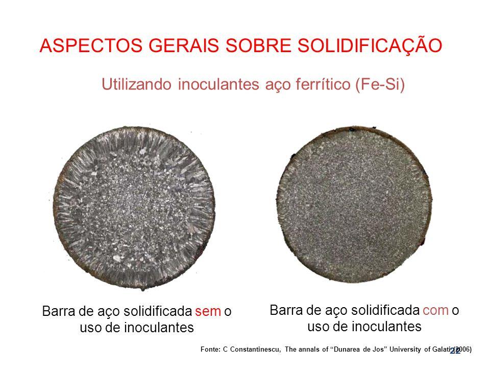 22 ASPECTOS GERAIS SOBRE SOLIDIFICAÇÃO Utilizando inoculantes aço ferrítico (Fe-Si) Barra de aço solidificada sem o uso de inoculantes Barra de aço so