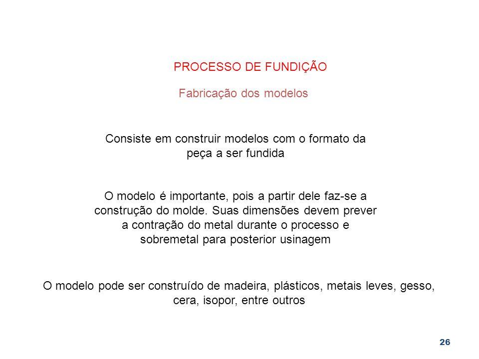 26 PROCESSO DE FUNDIÇÃO Fabricação dos modelos Consiste em construir modelos com o formato da peça a ser fundida O modelo é importante, pois a partir