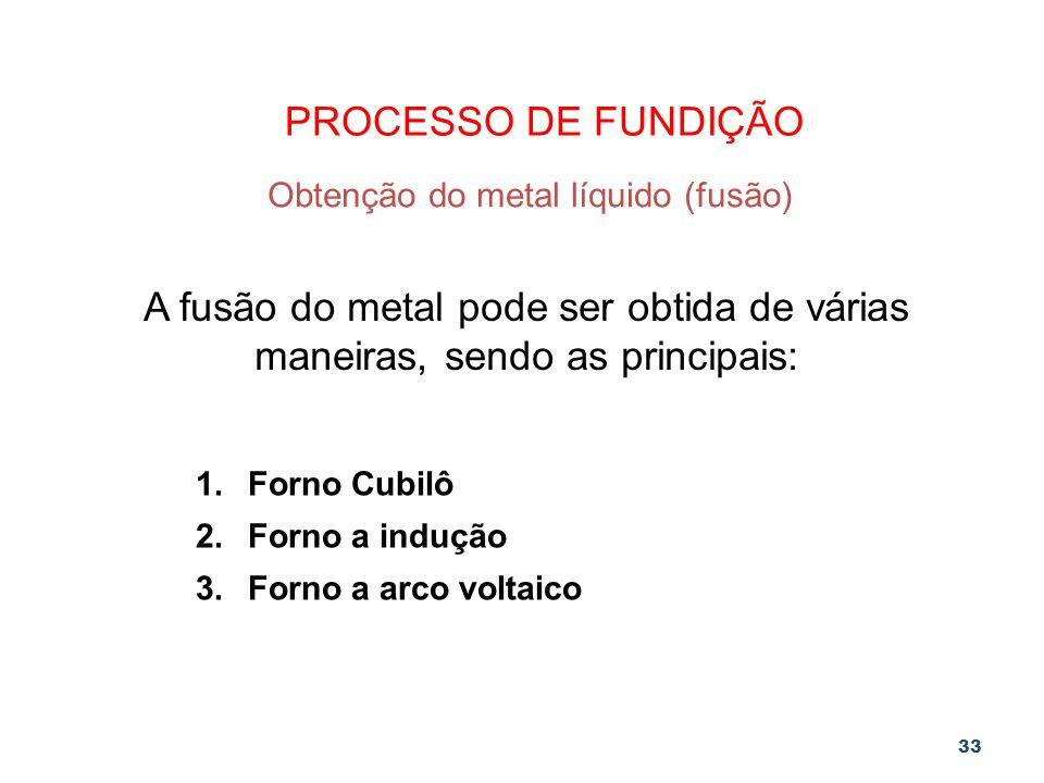33 PROCESSO DE FUNDIÇÃO Obtenção do metal líquido (fusão) A fusão do metal pode ser obtida de várias maneiras, sendo as principais: 1.Forno Cubilô 2.F