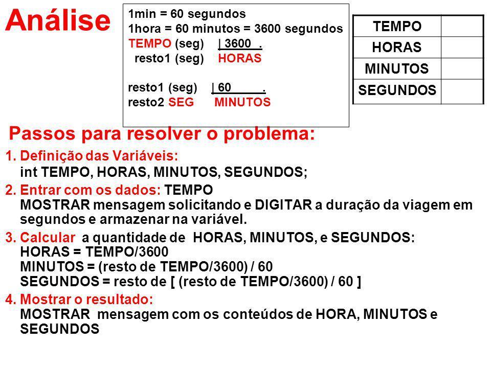 Análise Passos para resolver o problema: 1.Definição das Variáveis: int TEMPO, HORAS, MINUTOS, SEGUNDOS; 2.Entrar com os dados: TEMPO MOSTRAR mensagem
