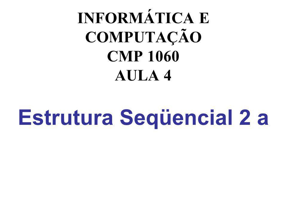 Estrutura Seqüencial 2 a INFORMÁTICA E COMPUTAÇÃO CMP 1060 AULA 4