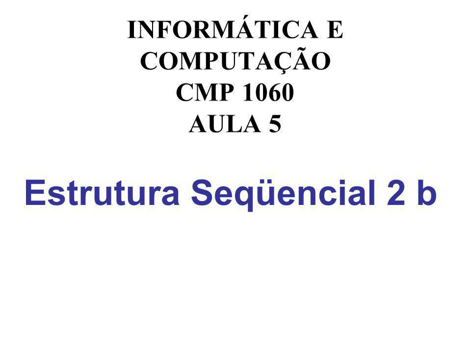 Estrutura Seqüencial 2 b INFORMÁTICA E COMPUTAÇÃO CMP 1060 AULA 5