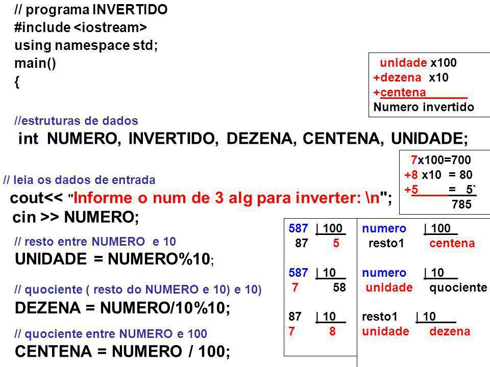 // programa INVERTIDO #include using namespace std; main() { //estruturas de dados int NUMERO, INVERTIDO, DEZENA, CENTENA, UNIDADE; // leia os dados de entrada cout<< Informe o num de 3 alg para inverter: \n ; cin >> NUMERO; // resto entre NUMERO e 10 UNIDADE = NUMERO%10 ; // quociente ( resto do NUMERO e 10) e 10) DEZENA = NUMERO/10%10; // quociente entre NUMERO e 100 CENTENA = NUMERO / 100; numero | 100 ` resto1 centena numero | 10 ` unidade quociente resto1 | 10 ` unidade dezena 587 | 100 ` 87 5 587 | 10 ` 7 58 87 | 10 ` 7 8 unidade x100 +dezena x10 +centena ` Numero invertido 7x100=700 +8 x10 = 80 +5 = 5` 785
