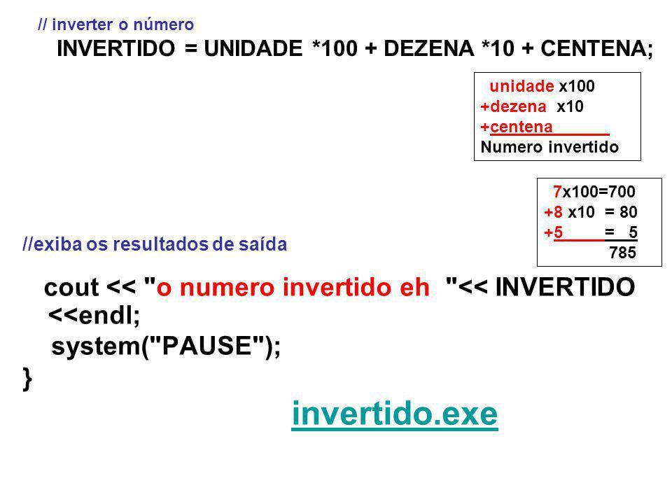 //exiba os resultados de saída cout << o numero invertido eh << INVERTIDO <<endl; system( PAUSE ); } invertido.exe // inverter o número INVERTIDO = UNIDADE *100 + DEZENA *10 + CENTENA; 7x100=700 +8 x10 = 80 +5 = 5` 785 unidade x100 +dezena x10 +centena ` Numero invertido