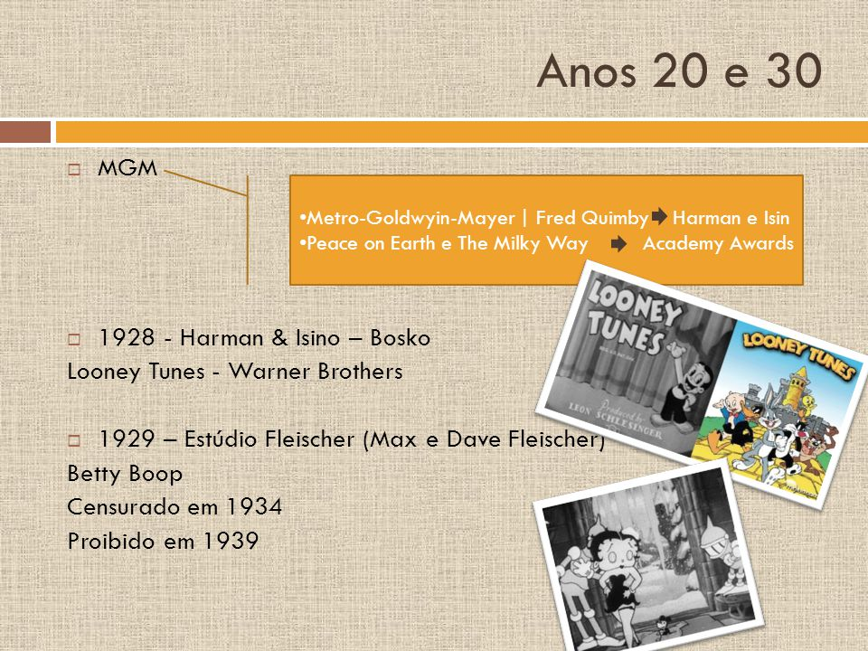 Anos 20 e 30 MGM 1928 - Harman & Isino – Bosko Looney Tunes - Warner Brothers 1929 – Estúdio Fleischer (Max e Dave Fleischer) Betty Boop Censurado em