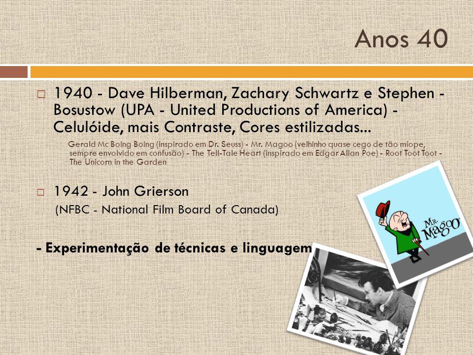 Anos 40 1940 - Dave Hilberman, Zachary Schwartz e Stephen - Bosustow (UPA - United Productions of America) - Celulóide, mais Contraste, Cores estiliza