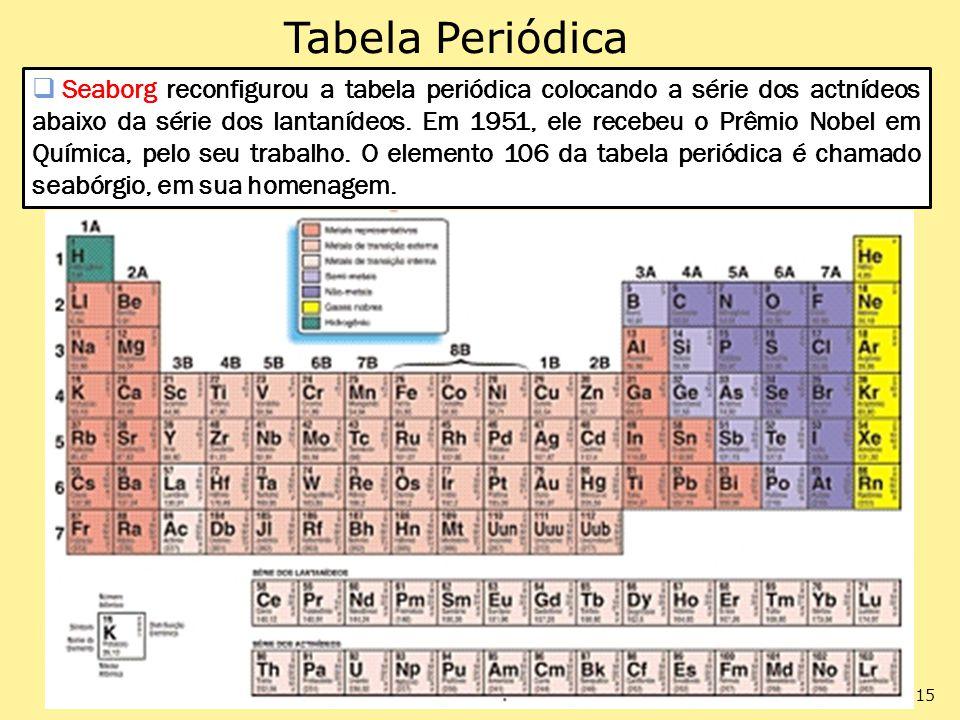 Tabela Periódica Seaborg reconfigurou a tabela periódica colocando a série dos actnídeos abaixo da série dos lantanídeos. Em 1951, ele recebeu o Prêmi
