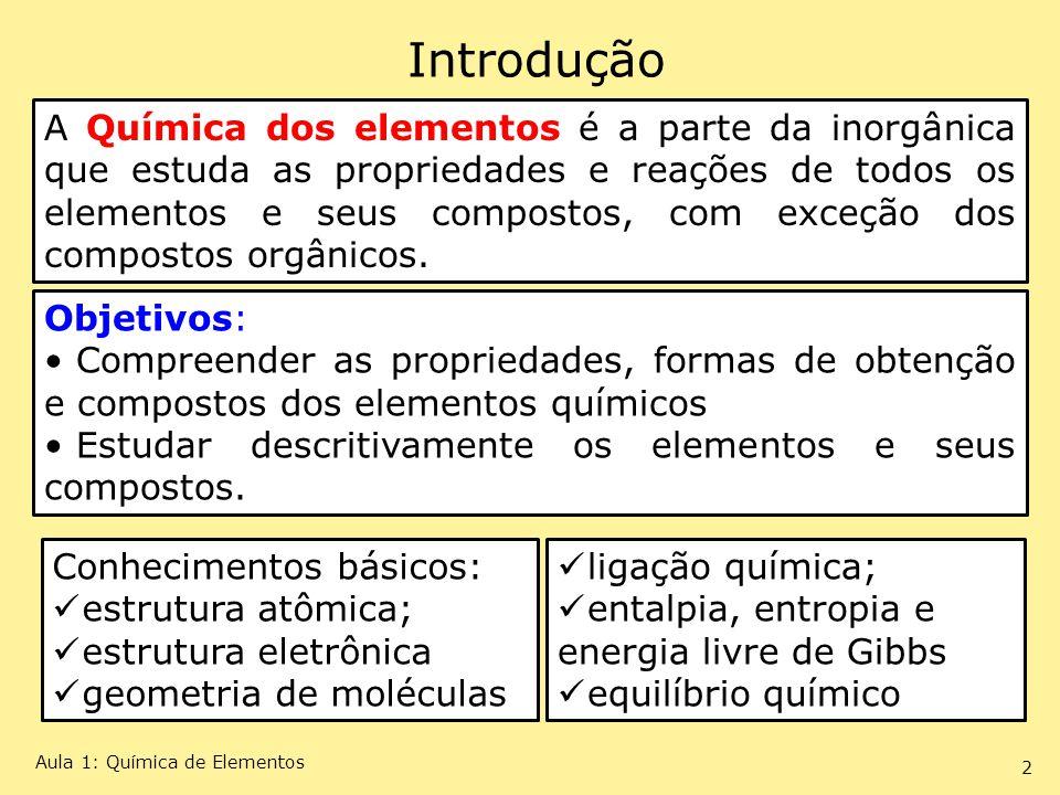 Introdução A Química dos elementos é a parte da inorgânica que estuda as propriedades e reações de todos os elementos e seus compostos, com exceção do