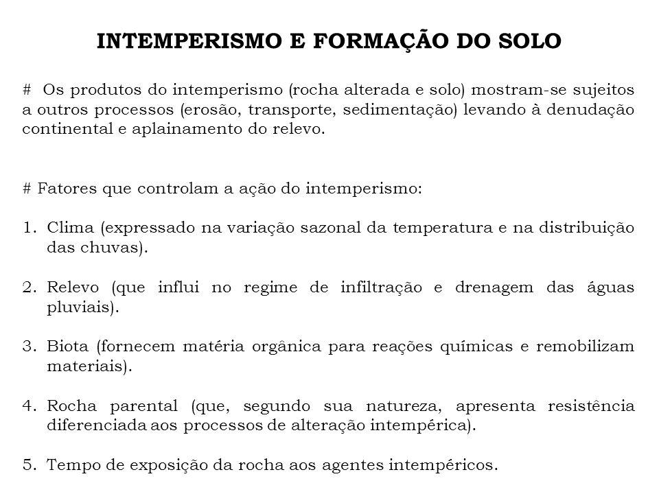 INTEMPERISMO E FORMAÇÃO DO SOLO # Os produtos do intemperismo (rocha alterada e solo) mostram-se sujeitos a outros processos (erosão, transporte, sedi