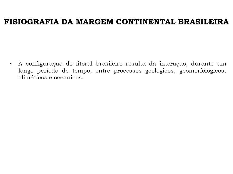 FISIOGRAFIA DA MARGEM CONTINENTAL BRASILEIRA A configuração do litoral brasileiro resulta da interação, durante um longo período de tempo, entre proce