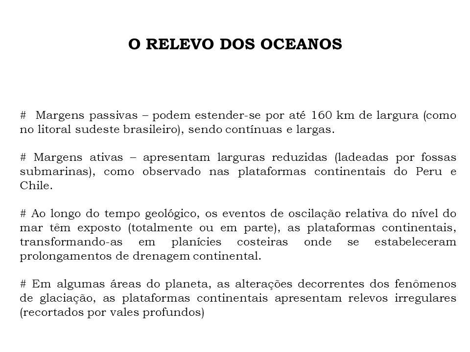 O RELEVO DOS OCEANOS # Uma mudança acentuada na declividade do relevo marca o limite externo da plataforma continental (quebra da plataforma) – determinando a passagem para o talude continental.