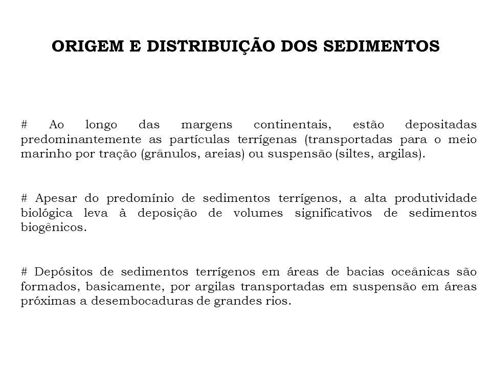 ORIGEM E DISTRIBUIÇÃO DOS SEDIMENTOS # Ao longo das margens continentais, estão depositadas predominantemente as partículas terrígenas (transportadas
