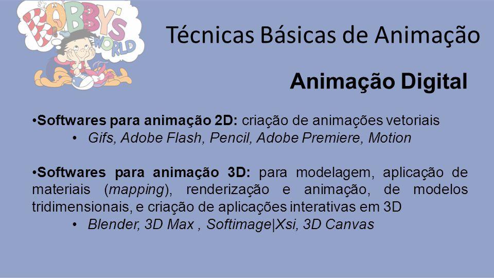 Técnicas Básicas de Animação Animação Digital Softwares para animação 2D: criação de animações vetoriais Gifs, Adobe Flash, Pencil, Adobe Premiere, Mo