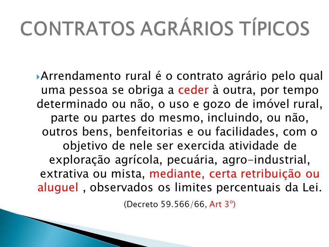 Arrendamento rural é o contrato agrário pelo qual uma pessoa se obriga a ceder à outra, por tempo determinado ou não, o uso e gozo de imóvel rural, pa