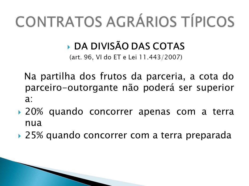 DA DIVISÃO DAS COTAS (art.