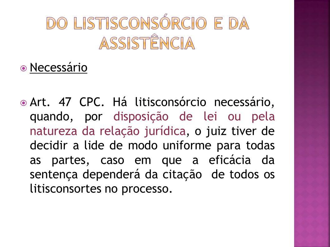 Necessário Art.47 CPC.
