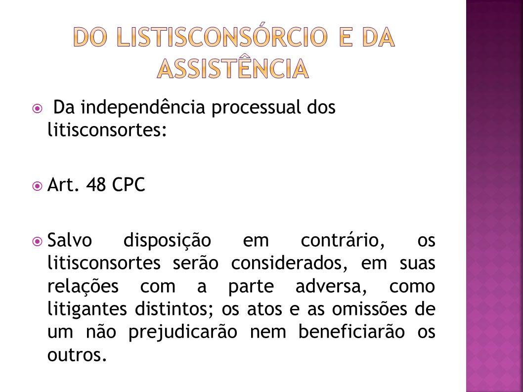 Da independência processual dos litisconsortes: Art.