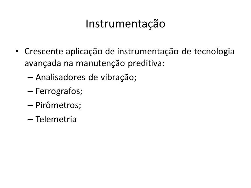 Instrumentação Crescente aplicação de instrumentação de tecnologia avançada na manutenção preditiva: – Analisadores de vibração; – Ferrografos; – Pirômetros; – Telemetria
