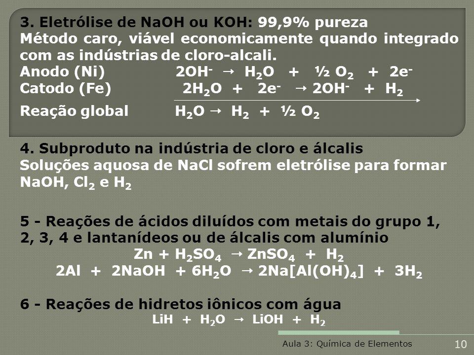3. Eletrólise de NaOH ou KOH: 99,9% pureza Método caro, viável economicamente quando integrado com as indústrias de cloro-alcali. Anodo (Ni) 2OH - H 2