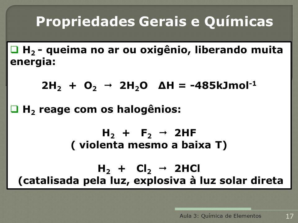 H 2 - queima no ar ou oxigênio, liberando muita energia: 2H 2 + O 2 2H 2 O Δ H = -485kJmol -1 H 2 reage com os halogênios: H 2 + F 2 2HF ( violenta me