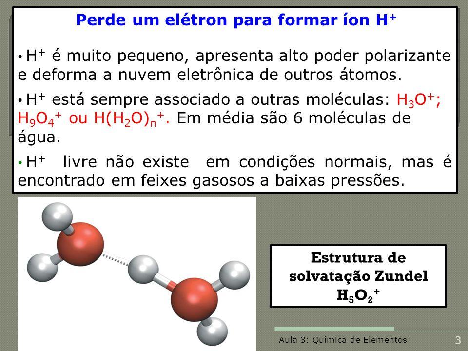Perde um elétron para formar íon H + H + é muito pequeno, apresenta alto poder polarizante e deforma a nuvem eletrônica de outros átomos. H + está sem