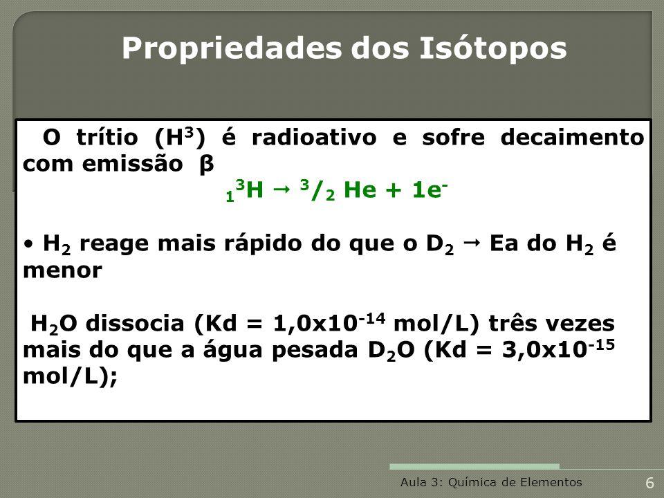 O trítio (H 3 ) é radioativo e sofre decaimento com emissão β 1 3 H 3 / 2 He + 1e - H 2 reage mais rápido do que o D 2 Ea do H 2 é menor H 2 O dissoci