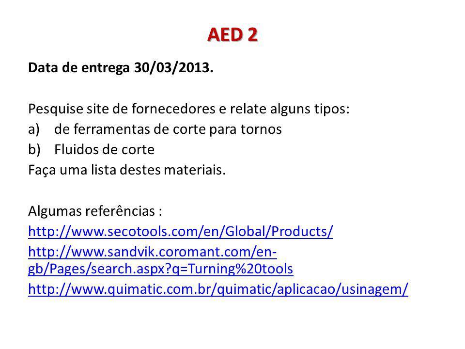 AED 3 Data de entrega 30/03/2013.